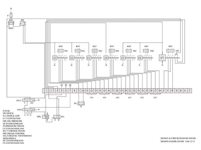 نقشه تابلو برق چیلر